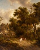 Richard Hilder (1813-1853) A country path with figures and cattle by a cottage in a wooded