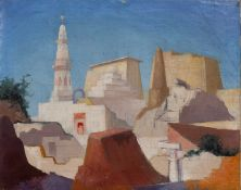 Harold Hussey (b.1912-d.1998), study of North African buildings, oil on canvas, 40cm x 50.