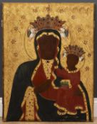 A decorative parcel gilt icon depicting the Virgin and Child, each with a coloured glass set '