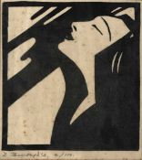 Dorothy Burroughes (fl. circa 1920-1963) A fashionable lady, lino cut, signed and numbered 4/100
