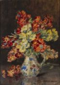 Marion Broom (1878-1962) Still life - a floral pattern jug of mixed flowers, signed, watercolour,