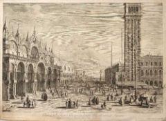 Antonius Visentini 'Plateae D Marci Prospectus inter Basilicam et Turrim', etching, 43 x 58.5cm; one