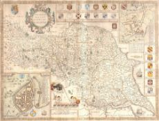 John Speed The North and East Riding of Yorkshire, engraving with inset aerial plans of Richmond and