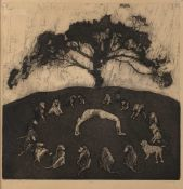 Holley Coulter Chirot ( 1942-1984) 'No, do you really think no?', etching with aquatint, pencil