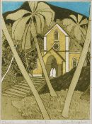John Brunsdon (1933-2014) 'Church', etching in colours, artist's proof, pencil signed in the margin,