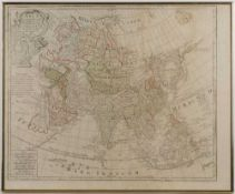 Guillaume de L'Isle'Asia', double page engraving with hand-coloured outline, 50 x 62cm; and