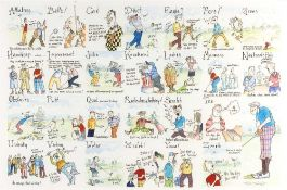 After Tim Bulmer 'An A to Z of Golf', print in colours, pencil signed by the artist, 35 x 53cm;