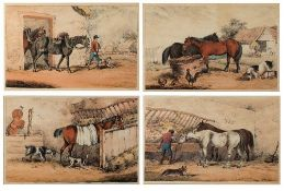 Thomas Sutherland after Henry Alken Stable scenes, a set of four, lithographs with hand-colouring,