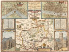 John Speed 'Middle-Sex described', engraving with inset aerial plans of 'Westminster' and 'London'