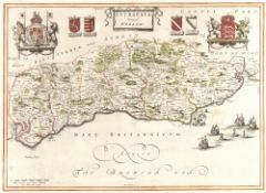 Blaeu 'Sussex', engraving, the upper border with Royal Crest and coat of arms, hand-coloured, 39 x