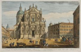 T Bowles after Piranesi 'A view of St Andrew's Church della Valle at Rome...', engraving,