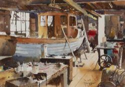 Stanley J Andrews (20th century) Marine Workshop interior, signed, watercolour, 24 x 34.5cm