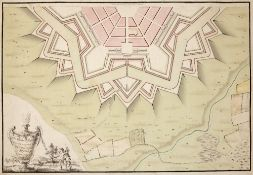 Charles Bruce 'Plan of a regular half hexagon' (Military plan for a defensive fortified city) with