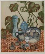 Tiffany McNab (1964-2010) 'Still life with cheese plant', etching in colours, pencil signed in the
