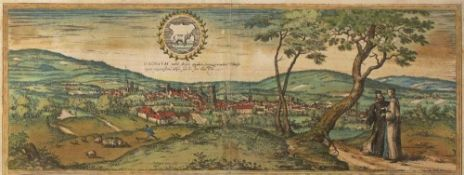 Georg Braun and Frans Hogenberg after George Hoefnagle 'Oxonium', etching, hand-coloured, 18 x 48cm