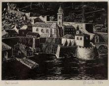 G Leslie Dubrovnik, wood engraving, pencil signed, titled and numbered 9/54, 9 x 13cm