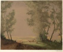 Tatton Winter (1855-1928) 'Summer Pastoral', etching in colours, 29.5 x 37cm