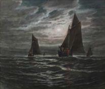 Otis Weber (b. 1847) Shipping at sea under a moonlit sky, signed, pastels, 55 x 65cm