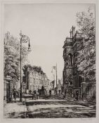 Francis Dodd 'Poplar' (East London), etching, pencil signed in the margin, 28.5 x 23cm; and three