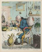After James Gillray 'Temperance Enjoying a Frugal Meal', etching, produced for the Sunday Times,