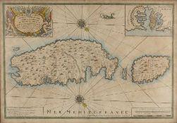 Michelot and Bremond 'Nouvelle Carte de L'Isle de Malthe', engraving with decorative title cartouche