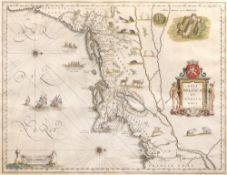 Willem Blaeu 'Nova Belgica et Anglia Nova', engraving with decorative figural title cartouche,