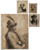 T * J * B * F * A gentleman wearing plumed hat, etching, 23 x 18cm; and three small Old Master