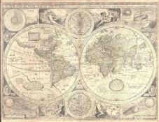 John Speede A New and Accurate Map of the World, engraved double hemisphere map decorated with