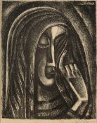 Vlastislav Hofman (1884-1964) Crying woman, monochrome lithograph, pencil signed in the margin, 28.5
