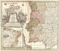 Matteus Seutter 'Portugallia et Algarbia Regna', engraving with decorative title, cartouche and