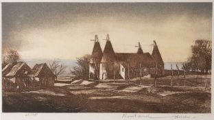 Rowland Hilder (1905-1993) The Weald of Kent, etching in colours, pencil signed in the margin by the