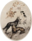 Kaby A fashionable lady with dogs in a garden setting, etching in colours, pencil signed in the