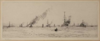 William Lionel Wyllie (1851-1933) 'Harwick Light Cruisers', etching, pencil signed in the margin,