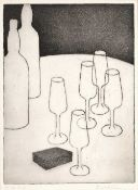 Elizabeth (?) Clemm Wine glasses, artist's proof, etching with aquatint, pencil signed in the