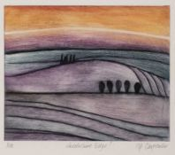 Pip Carpenter (20th/21st Century) 'Lincolnshire Edge', etching in colours, pencil signed in the