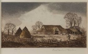 Rowland Hilder (1905-1993) 'High Mill', etching in colours, pencil signed in the margin and numbered