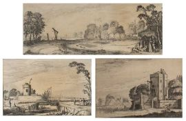 Jan Van de Velde II The Old Tower as a Lighthouse, etching, 12/5 x 20cm; and two further similar (