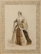 19th century English School A set of six colour lithographs, each printed a medieval princess within