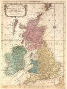 J Hinton 'An accurate map of England, Scotland and Ireland', engraving, hand-coloured, 36 x 26.