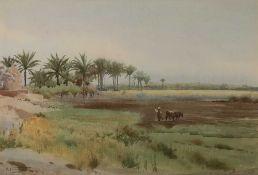 Robert George Talbot Kelly (1861-1934) An Eastern farmer with ox and plough, signed, watercolour, 25
