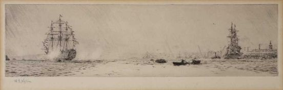 William Lionel Wyllie (1851-1933) H.M.S. 'Renown returning from Canada', etching, pencil signed in