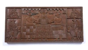 A Benin carved rectangular panel depicting an OBA with two attendant figures and mounted horsemen in