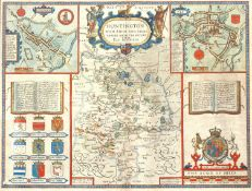John Speed Map of Huntington, 1662 hand coloured double page engraving 40 x 52cm.