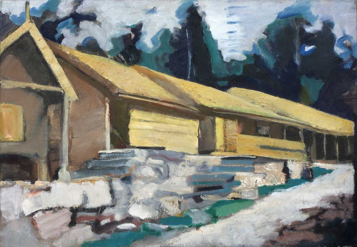 Bernard Kay (1927-2021) Five landscape and village studies all unsigned oil on canvas largest 71 x - Image 2 of 13