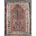 An old Anatolian, Konya, Kelim with a central interlinked design on a rose red ground, 170 x 137cm