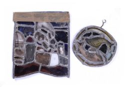 Attributed to Bernard Kay Two stained leaded glass panels, one squared, a complex modernist design