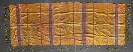 A Syrian Keffiyeh or head scarf with banded motif on a mustard yellow ground, 213 x 77cm