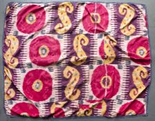 An Uzbek silk Ikat Parda or wall hanging with stylised polychrome decoration, approximately 200 x