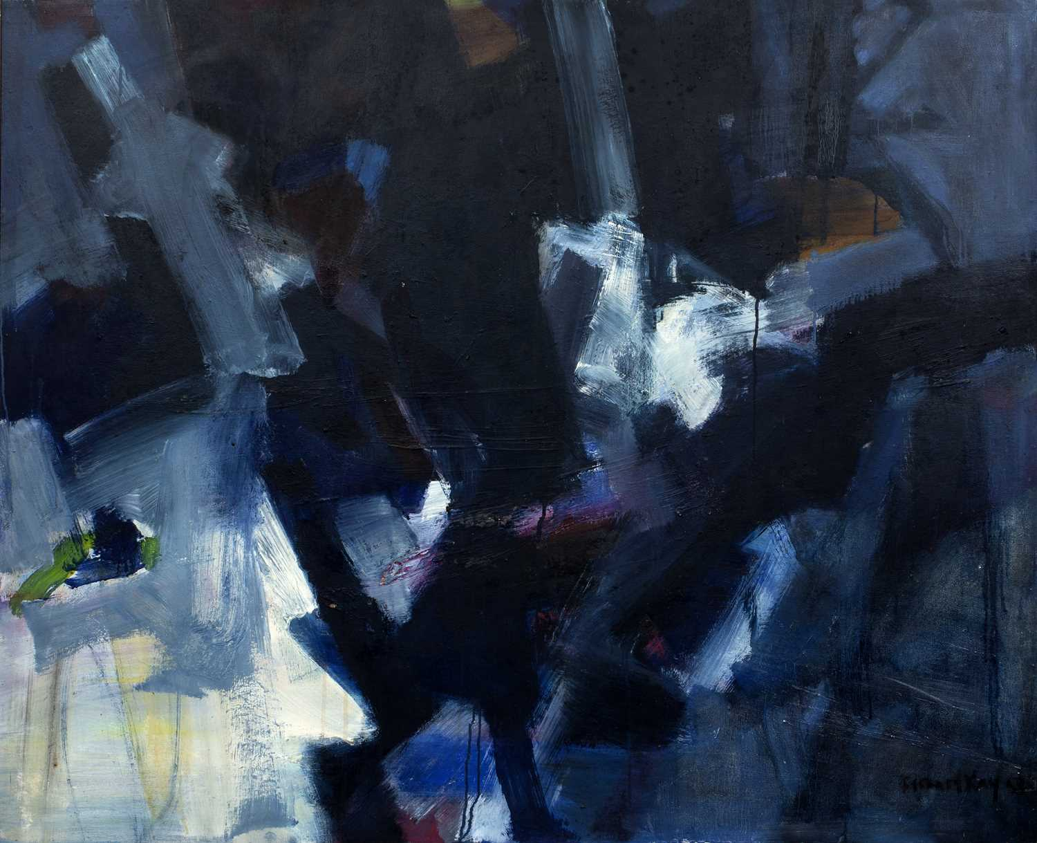 Bernard Kay (1927-2021) Black, White through Blue, 1958 signed and dated (lower right), titled (to