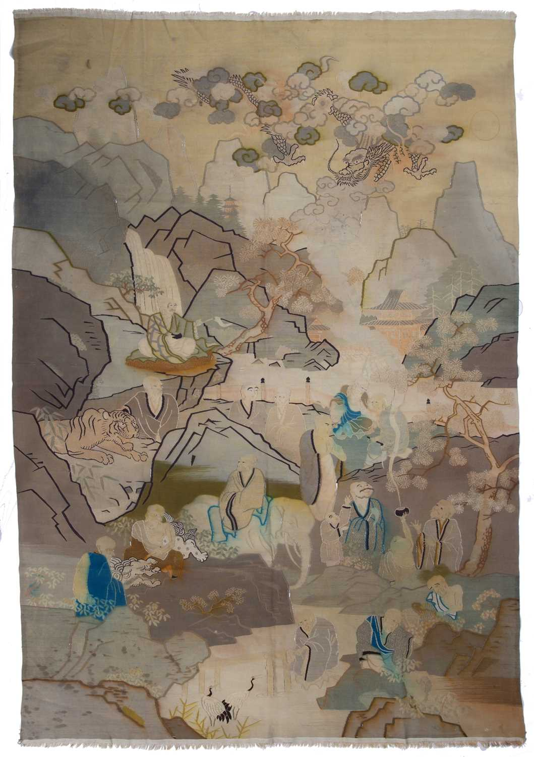 A Chinese textile pictorial panel depicting figures and animals in a mountainous landscape, 166 x
